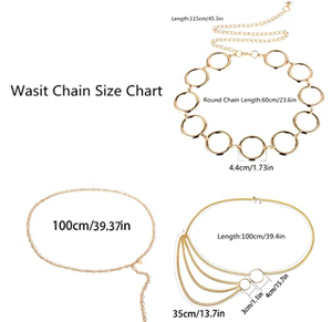 AnVei-Nao Gold Waist Chain Belt for Women Metal Hoop Link Waistbands Charm Belly Body Chain Bikini Dress Jewelry 3 Pack