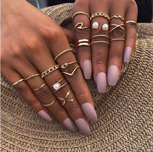 17 MILE 10-20 Pcs Vintage Knuckle Stackable Rings Set for Women, Bohemian Gold/Silver Plated Comfort Fit VSCO Wave Joint Finger Rings Gift
