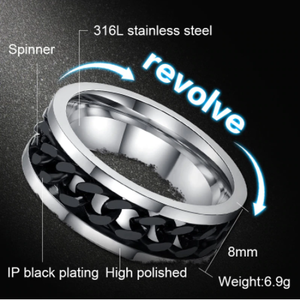 Meaeguet Spinner Chain Ring Men Stainless Steel Metal Not Fade Gold Black Blue silver color Color Reliever Stress