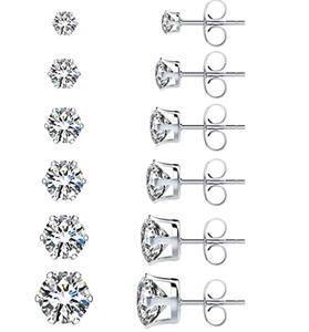 UHIBROS 6 Pairs Stainless Steel Stud Earrings Set Hypoallergenic Cubic Zirconia 18K White Gold 316L CZ Earrings