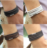 New Fashion 5 Layer Leather Bracelets & Charm Bangle Handmade Round Rope Turn Buckle Bracelet For Women Men Low Price Wholesale