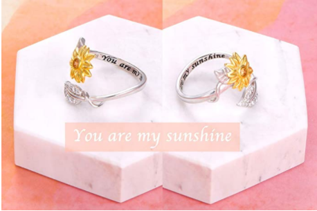 Sterling Silver You are My Sunshine Sunflower CZ Heart Ring Adjustable Size 5-9