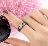 Black White Ceramic Women' s Ring With AAA Crystal 6mm Rings For Women Men Plus Big Size 10 11 12 Fashion Jewelry Christmas 2020