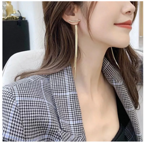A pair Fashion Gold Color Bar Long Thread Tassel Drop Earrings For Women Glossy Arc Geometric Korean Earring Fashion Jewelry