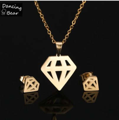 Gold Silver Color Bear Clover Heart Fish Snowflake Shape Stainless Steel Pendant Necklace Sets For Women Earrings Jewelry Sets