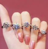 CC Rings For Women Classic Jewelry 6 Claws Cubic Zirconia Bridal Wedding Engagement Accessories Bijoux Drop Shipping CC1611