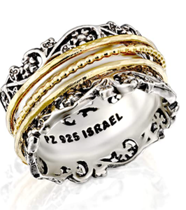 PZ Paz Creations Spinner Ring Sterling Silver With Yellow Gold Spinners | Women | Sizes 6 - 11