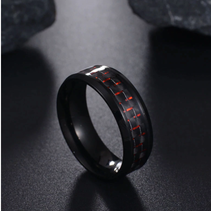 Domineering Man Ring Red Green Carbon Fiber Black Dragon Inlay Comfort Fit Stainless steel Rings for Men Wedding Band Ring