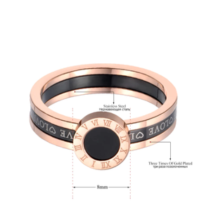 JeeMango Black Acrylic Love Roman Numerals Wedding Rings For Women Rose Gold Titanium Stainless Steel Ring Jewelry JR19060