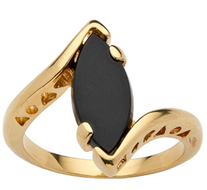 Palm Beach Jewelry 18K Yellow Gold Plated Marquise Shaped Natural Black Onyx Bypass Ring