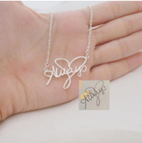 Custom Cursive Nameplate Pendant Gold Choker Vertical Necklace stainless steel Handmade Nameplate Pendant Necklace birthday Gift