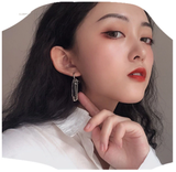 Punk stud earrings female metal chain pin earring 2019 Geometric circular tassel earrings accessories jewelry earring for women