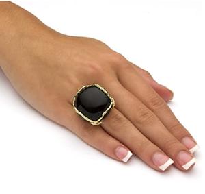 Palm Beach Jewelry 14K Yellow Gold Plated Natural Black Onyx Cabochon Pillow Ring