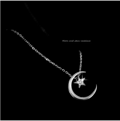 Moon Star 925 Sterling Silver Necklace Fashion Simple Sparkling Clavicle Chain Woman Wedding Jewelry Party Birthday Gift
