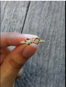 10K Gold Dainty Bow Ring set with Round Cut Swarovski Zirconia