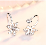 Korean Style Women Snowflake Clip Earrings Without Piercing Crystal Earcuff Fashion Jewelry 2020 No Ear Hole Cuff Earing