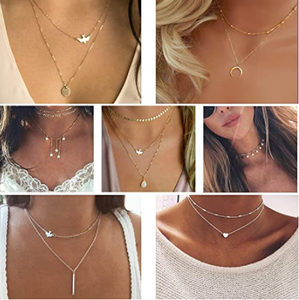 TAMHOO 20 PCS Multiple DIY Layered Choker Necklace for Women with Sexy Coin Moon Star Multilayer Choker Chain Y Necklaces Set Adjustable Gold Silver Bar Pendant Y Necklace for Teens Girls Women
