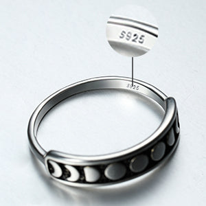 Angol Sterling Silver Moon Phase Ring, 925 Silver Vintage Moon Ring for Women Teens, Vintage Stacking Finger Ring Black Band Jewelry Size 6 7 8 9 10