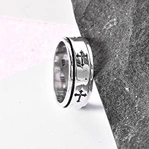 Mens Womens Spinner Band Ring 925 Sterling Silver Statement Boho Handmade Fashion Jewelry for Women Moon Star Celtic Stress Relieving