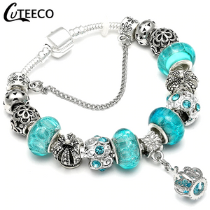 CUTEECO 925 Fashion Silver Charms Bracelet Bangle For Women Crystal Flower Fairy Bead Fit Brand Bracelets Jewelry Pulseras Mujer - Aptil Jewelery