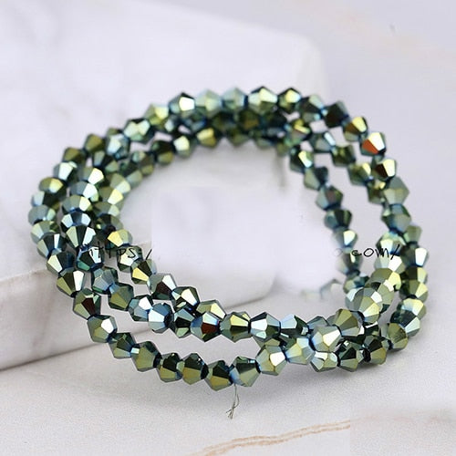 BEAUCHAMP 4mm Crystal Beads Bicone Shape Stone Jewelry Findings Tassel Lariat Earring Glass Quartz Charms Bracelet Accessories - Aptil Jewelery