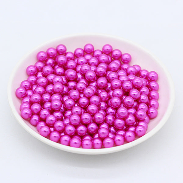 3/4/6/8mm Round color No Hole Acrylic Imitation pearl bead loose beads Decoration Diy Jewelry headwear Necklace Making for women - Aptil Jewelery