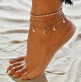 Gold Metal Shell Coconut Tree Female Anklets Barefoot Sandals Foot Summer Double Layers Anklets On Foot Ankle Bracelets - Aptil Jewelery