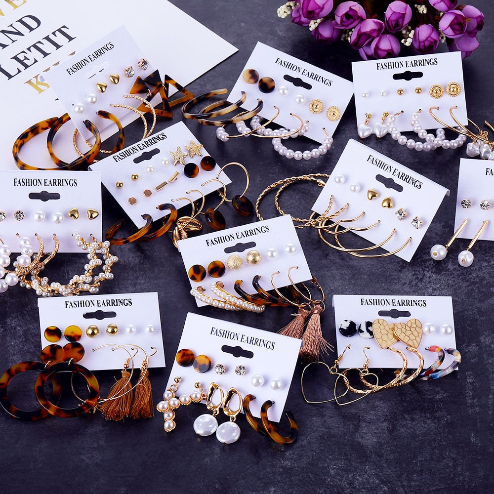 2019 Bohemian Leopard Acrylic Pearl Earrings Set for Women Fashion Geometry Tassel Handmade Earrings Jewelry Gift Set - Aptil Jewelery