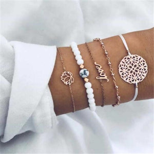 Ahmed 15 Style Bohemian Trendy Bracelet sets for Women Fashion Plain Shell Map Heart Animal Palm Beads Tassel Bracelets Jewelry - Aptil Jewelery
