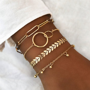 LETAPI 4 Pcs/Set Vintage Geometric Arrow Metal Chain Gold Color Bracelets for Woman Bohemian Beach Bangle Jewelry - Aptil Jewelery