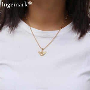 Ingemark New Fashion Angel Pendant Choker Necklace Eco-Friendly Material Alloy Beads Boho Chain Necklace Collier Women Jewelry - Aptil Jewelery