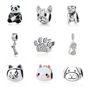 Original 925 Sterling Silver Charm Bead Love Pets Dog Cat Paw Print Panda Pendant Charms Fit Pandora Bracelets Women DIY Jewelry - Aptil Jewelery
