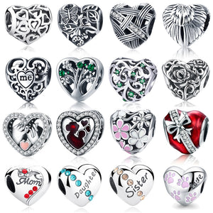 WOSTU 100% Authentic 925 Sterling Silver Heart Shape Charm Beads Fit Brand Charm Bracelet DIY Original Silver Jewelry - Aptil Jewelery