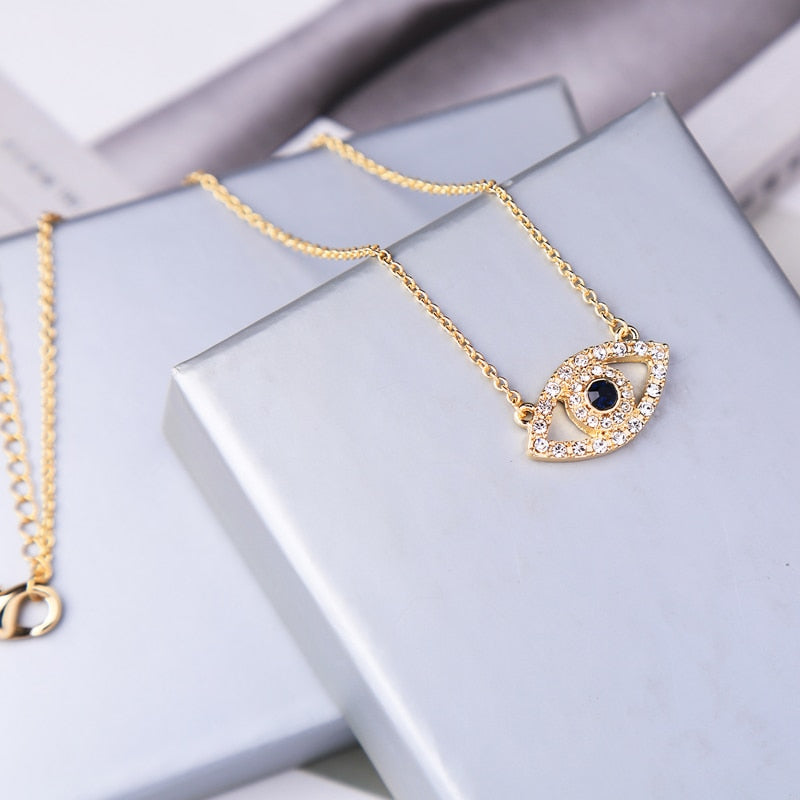 Exquisite Crystal Evil Eye Pendant Necklace For Women Gifts Gold Color Fashion Jewelry Wholesale Freeshipping - Aptil Jewelery