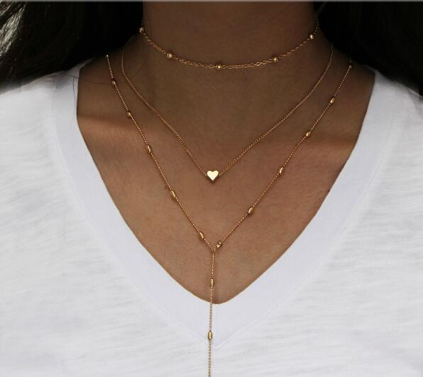 Vintage Multilayer Crystal Pendant Necklace Women Gold Color Beads Moon Star Horn Crescent Choker Necklaces Jewelry New - Aptil Jewelery