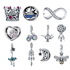 BISAER Hot Sale 925 Sterling Silver Heart Star Princess Crown Bowknot Dream Catcher Charms Beads fit Silver 925 Jewelry Making - Aptil Jewelery