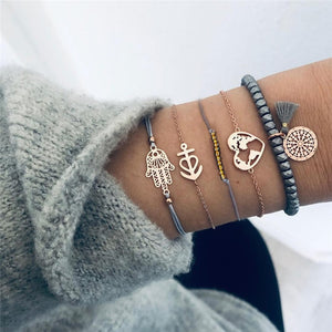 DIEZI Drop Shipping Different Style Elephant Tree Of Life Tassel Chain Bracelet Sets For Women Beaded Bracelets Bangles Jewelry - Aptil Jewelery