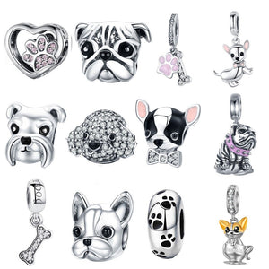 925 Sterling Silver A Dog 's Story Poodle Puppy French Bulldog Beads Charm Fit BISAER Charms Silver 925 Original Bracelet - Aptil Jewelery