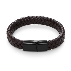 Jiayiqi Punk Men Jewelry Black/Brown Braided Leather Bracelet Stainless Steel Magnetic Clasp Fashion Bangles 18.5/22/20.5cm - Aptil-jewelery - jewelry website