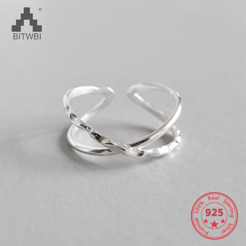 100% 925 Sterling Silver Geometric Simple Personality X-Shaped Dark Pattern Manual Opening Ring - Aptil Jewelery