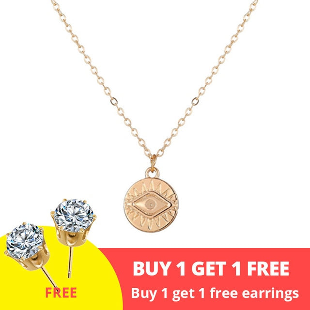 17KM Vintage Gold Round Necklaces Coin Necklaces For Women Girl Long Coin Pendant & Necklace 2019 Female Fashion Jewelry Gift - Aptil-jewelery - jewelry website