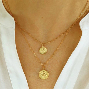 17KM Vintage Gold Round Necklaces Coin Necklaces For Women Girl Long Coin Pendant & Necklace 2019 Female Fashion Jewelry Gift - Aptil Jewelery
