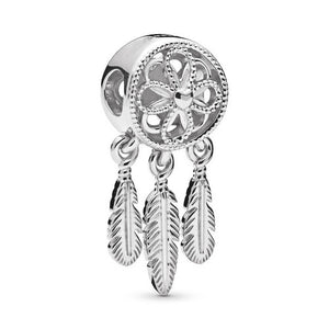 TOGORY 2Pcs/lot Silver Feather Ferris Wheel Pendant fit Pandora Charms Bracelets DIY Jewelry Women Silver Jewelry Accessories - Aptil Jewelery