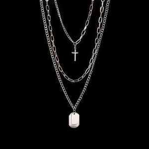 Zoeber Multi-Layer Long Chain Necklace Punk Cross Pendant Necklace for Women Men Metal Silver  Chains Hip Hop Goth Jewelry Gifts - Aptil Jewelery