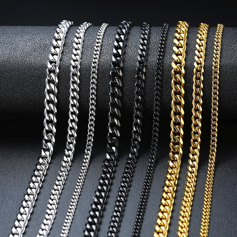 Vnox Basic Punk Stainless Steel Necklace for Men Women Curb Cuban Link Chain Chokers Vintage Black Gold Tone Solid Metal - Aptil Jewelery