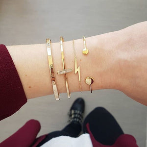 Modyle 4Pcs/set Bohemian Simple Gold Color Metal Bracelet Set for Women Punk Vintage Bracelets Bangles Jewelry Gift - Aptil Jewelery