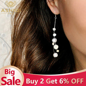 ASHIQI White Natural Freshwater Baroque Pearl bohemian earrings 925 Sterling Silver long Tassels Dangle Earrings for Women Gifts - Aptil Jewelery