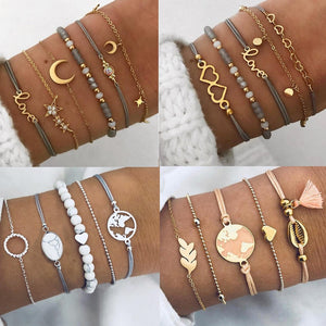 DIEZI Bohemian Grey Pink Rope Chain Bracelets Bangles For Women Star Ocean Moon Color Heart Charm Bracelets Sets Jewelry Gifts - Aptil Jewelery