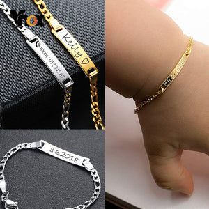 Vnox Personalize Custom Baby Name Bracelet Gold Tone Solid Stainless Steel Adjustable Bracelet New Born to Child Girls Boys Gift - Aptil Jewelery