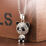 2020 New Fashion Pretty Enamel Rhinestone Panda Pendant Necklace Women Crystal Accessories Sweater Necklaces Jewelry 50cm - Aptil Jewelery
